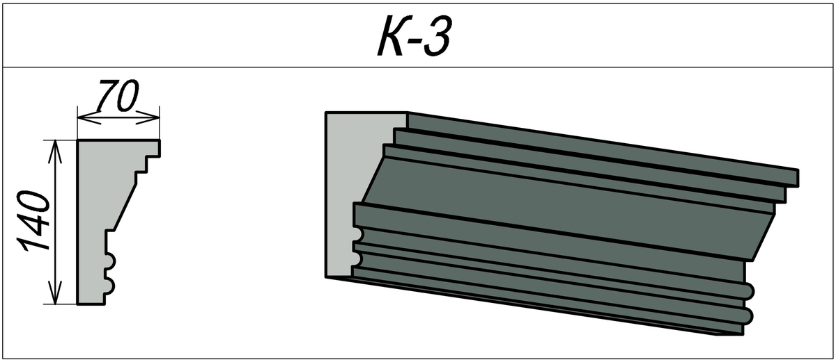 Карниз для фасада из пенополистирола К-3