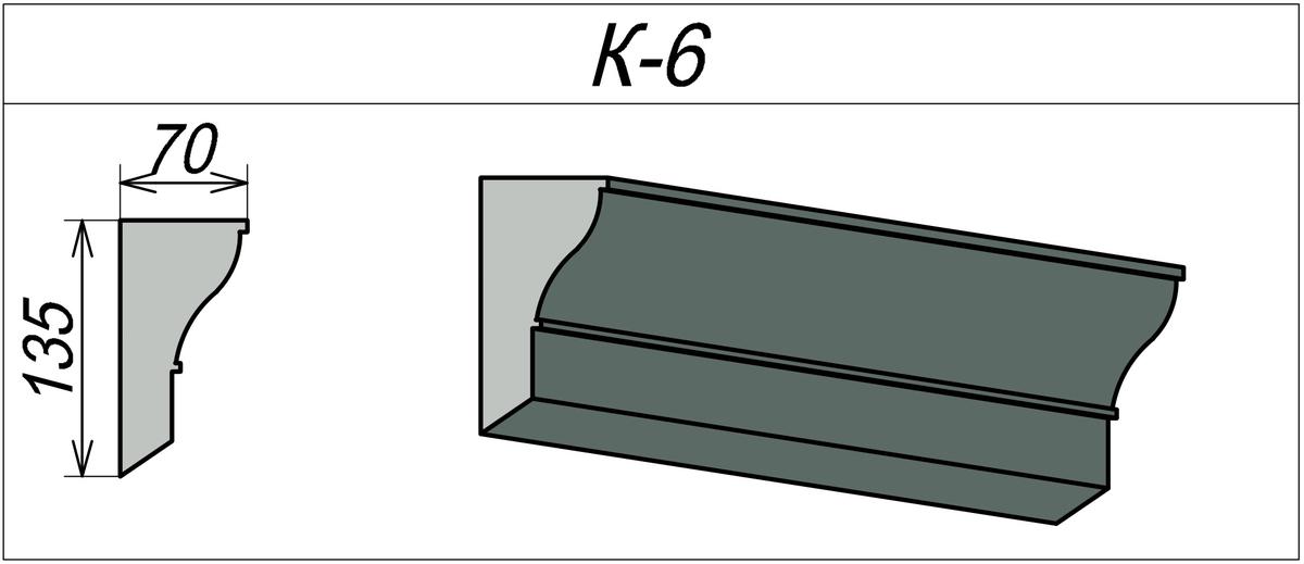 Фасадный карниз из пенопласта К-6