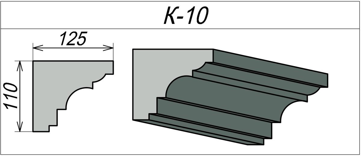 Карниз для наружных стен К-10