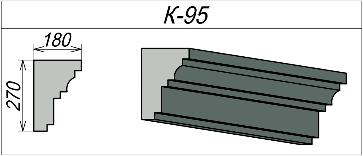 Фасадный карниз из пенополистирола К-95